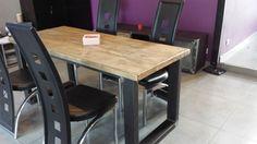 Meuble industriel table de salle à manger acier et bois vieilli