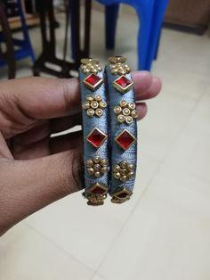 Silk Thread Bangles Design, Silk Bangles, Bridal Bangles, Thread Jewellery, Handmade Jewellery, Diy Jewelry, Jewelry Design, Beaded Bracelets, Bagels