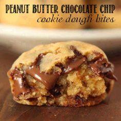 Sugar Blossoms: Peanut Butter Chocolate Chip Cookie Dough Bites #glutenfree #healthysnack