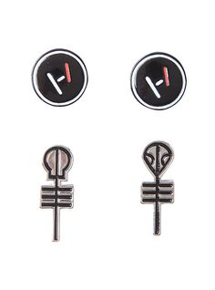Twenty One Pilots Symbols Earring Set, *I know my ears aren't pierced but I have a gift card for it and if plans don't work out to get them pierced with Jenna within a few months I'll get them pierced anyway* Plus these are amazing. http://www.hottopic.com/product/twenty-one-pilots-symbols-earring-set/10466660.html#cm_sp=DD-_-BandMerch-_-band-merch-accessories&start=1