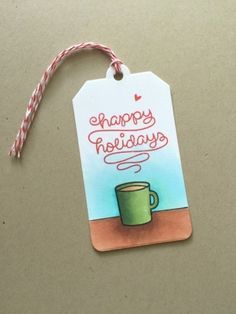 Christmas tag featuring copic coloring and Lawn Fawn Love You A Latte
