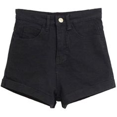 Choies Black Rolled Hem High Waist Denim Shorts (€17) ❤ liked on Polyvore featuring shorts, bottoms, black, roll up shorts, high-waisted jean shorts, black highwaisted shorts, high rise jean shorts and highwaisted shorts