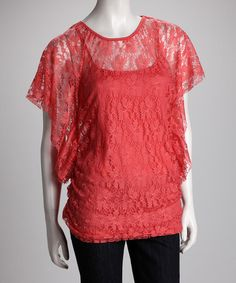 Take a look at this Candy Coral Lace Top by On the Town: Tops & Denim on #zulily today!