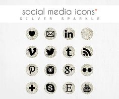 social media icons SILVER SPARKLE by luciabarabas on Etsy, €2.99