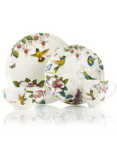 Portmeirion Dinnerware, Botanic Hummingbird 4 Piece Place Setting - Casual Dinnerware - Dining & Entertaining - Macy's