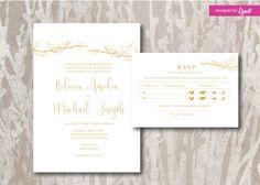 Rustic Wedding Invitation-Digital wedding invitation-Printable wedding invitation set-Custom wedding invitation-Rustic-Bird invitation by Linvit on Etsy