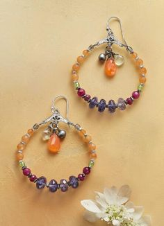 Our pretty 'Maisie' gemstone hoop earrings proffer brilliance and an array of vivid color.
