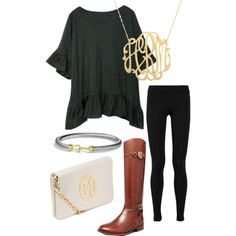 Black + Brown + #ToryBurch Boots & Clutch + #DavidYurman + Moon and Lola's Cutout #Monogram Necklace from SwellCaroline.com = A Neutral Classic // SaraHairston on Polyvore.com- #Initials #SwellCaroline #WeekendLook