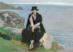 Laura Knight - Lamorna Cove (with figure)