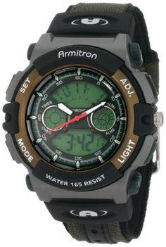 Armitron Sport Men's Chronograph Analog-Digital Instalite Black Watch Sport Watches, Cool Watches, Seiko, R Man, Water Lighting, Sport Man, Gift Store, Digital Watch, Casio Watch