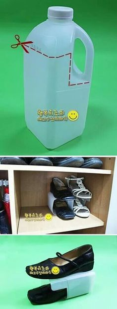Turn a half-gallon of milk into shoe shelves for stackable shoe storage. Turn a half-gallon of milk into shoe shelves for stackable shoe storage. Shoe Shelves, Shoe Storage, Diy Storage, Storage Shelves, Recycled Bottles, Plastic Bottles, Plastic Milk, Ideas Para Organizar, Pet Bottle