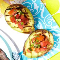 Grilled Avocado With Fresh Tomato Salsa - An all-veggie snack! Grills are taking over the world and I love it!