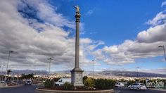 HereIsTom posted a photo:  Are you going to get away from the beach in Maspalomas in Gran Canaria towards the inland you come to Avenida Cristóbal Colón. En route to the Avenida Cristóbal Colón you will see one of the many roundabouts on a huge pillar statue of Columbus.  Columbus stopped at Maspalomas in 1502 on his fourth and final voyage. After a day taking on water and firewood he sailed away, never to return. The long, straight road from Campo Internacional down to the Maspalomas…