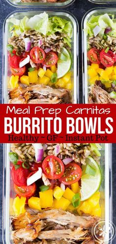 Meal Prep should not be boring or time-consuming! Meal Prep Burrito Bowls use my popular freezer friendly IP or slow cooker carnitas recipe FTW! #glutenfree #healthy #mealprep #instantpot #slowcooker #hungryhobby #lunch #dinner #pork via @hungryhobby