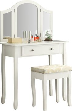 Winston Porter Emmalyn Wooden Vanity Set with Mirror Mirrored Vanity Desk, Wood Makeup Vanity, Wooden Vanity, Vanity Set With Mirror, Vanity Stool, White Bedroom Vanity, Upholstered Stool, Swivel Chair, Chair Cushions