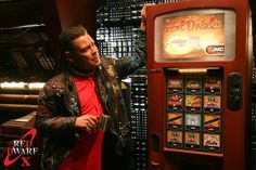 Red Dwarf X. Official Stills. Lister with the flirty talking vending machine!