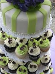 Fabulous ideas for green wedding cupcakes! Let's begin with a three tier cupcake wedding cake with one mini cake on top and two tiers of . Purple Wedding Cupcakes, Dark Purple Wedding, Green Cupcakes, White Wedding Cakes, Wedding Cakes With Flowers, Elegant Wedding Cakes, Elegant Cakes, Wedding Cake Designs, Green Wedding