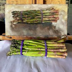 "Linda Massey · ""Spear Group"" 6x12"" oil Asparagus, Vegetables, Food, Group, Art, Art Background, Studs, Essen, Kunst"