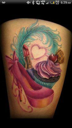Feather heart ice cream lipstick cherry cupcake ribbon shoe heel