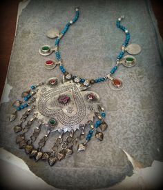 Kashmiri Pendant Necklace with old Kuchi Coins and by DancingTribe, $63.00
