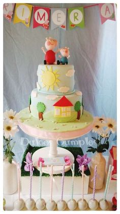 Fantastic cake at a Peppa Pig birthday party! See more party ideas at CatchMyParty.com!