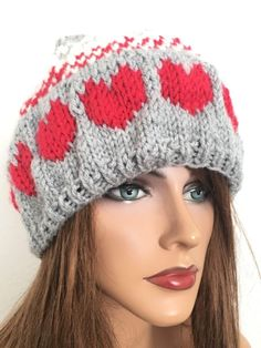 Hand Knits 2 Love Slouch Beanie Beret Red Hearts Female Designer Fashion | eBay