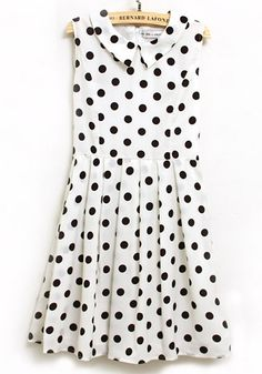 Black Polka Dot Lapel Sleeveless Above Knee Dress