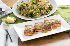 Seared Salmon with Roasted Broccoli & Farro Salad. Visit https://www.blueapron.com/ to receive the ingredients.