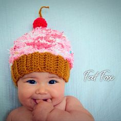 Crochet Cupcake Hat Baby Halloween Cap Girl Boy Winter Child Photo Prop New Baby Shower Gift Present by FatFoxDesigns on Etsy