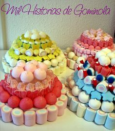 Tartas chuches / gominolas / colores Chocolates, Candy Cakes, Cupcakes, Ideas Para Fiestas, Candy Gifts, Marshmallow, Sweets, Sugar, Cooking