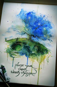 Bilbo's house... watercolor, ink, golden metal leaf, white ink pen Society6FACEBOOKTUMBLRETSY