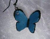 boucle d'oreille insecte papillon morpho bleu noir polymere fimo dormeuse