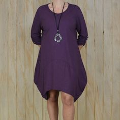 Lagenlook Cotton Jersey Hi Lo Dress - Plus, Naturally Clothing