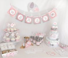 Baby Shower in a Box - girl elephant Baby of Mine theme - settings for 12 guests. $150.00, via Etsy.