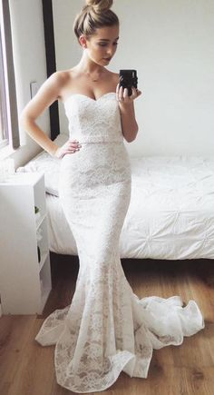 Unique Prom Dresses, Charming Mermaid Sweetheart Lace Small Train Wedding Dresses There are long prom gowns and knee-length 2020 prom dresses in this collection that create an elegant and glamorous look Pageant Dresses For Teens, Tight Prom Dresses, Elegant Bridesmaid Dresses, Long Prom Gowns, Tulle Prom Dress, Mermaid Dresses, Homecoming Dresses, Wedding Dresses, Halter Dresses