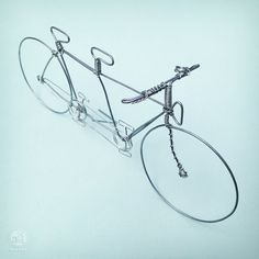 TANDEM BICYCLE - Custom Wire Art - Hand Sculpted Detailed Wire Bike - Cyclist or Wedding Decor