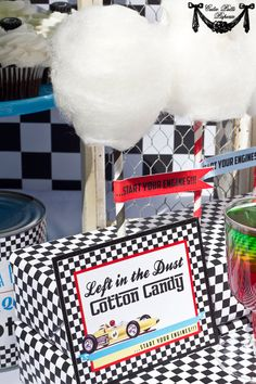 This design goes well with the 50's theme as well, minus the cars. Change cotton candy sticks to icecreams with color teal and/or pink cotton candy and use paper or real icecream cones.h