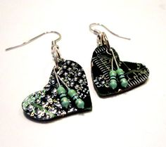 Heart Earrings  Emerald Green Circuit Board by clonehardware, $16.00 #valentines #geeklove