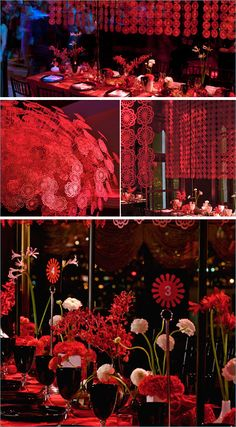 Red wedding theme - great for gala Ballroom Wedding, Wedding Stage, Red Wedding, Wedding Themes, Wedding Colors, Wedding Decorations, Wedding Ideas, Chinese Wedding Decor, Oriental Wedding
