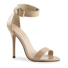 Amuse 10 is a striking design sure to attract attention. This heeled closed back sandal features a buckled ankle strap.