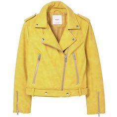 MANGO Zipped biker jacket (390 DKK) ❤ liked on Polyvore featuring outerwear, jackets, coats, coats & jackets, tops, fleece-lined jackets, yellow motorcycle jacket, lapel jacket, moto jackets and long sleeve jacket