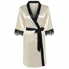 OURS Women's Kimono Robe Short Satin Bathrobe With Lace Detail (XL, Beige) *** Read more info by clicking the link on the image. Sleepwear Women, Lingerie Sleepwear, Nightwear, Loungewear, Jolie Lingerie, Sexy Lingerie, Luxury Lingerie, Peignoir Satin, Ropa Interior Babydoll
