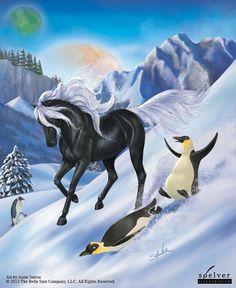 Glitterind | Winter Festival #bellasara #horses #penguins #winter #snow #illustration | soelver.dk