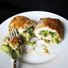 Skinny Chicken & Broccoli Rollatini (Ten Dollar Dinners)   These delicious, moist, cheese and broccoli stuffed chicken breasts have only 350 calories in the a piece.  and it was easy to make  and elegant enough for any dinner party.