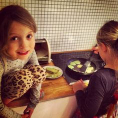 These are the two girls i often babysit! Pancakes are always a hit. Making them in a color, make the kids love them even more