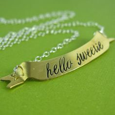 Doctor Who Hello Sweetie Necklace - Hand Stamped Doctor Who Necklace