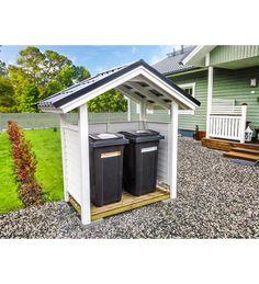 Kasperi pelti roskakatos | Karkkainen.com verkkokauppa Diy Pallet Projects, Outdoor Projects, Garbage Can Storage, Recycling Storage, Bin Store, Fire Pit Seating, Little Houses, Outdoor Gardens, Shed