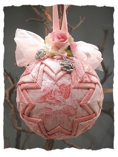 Beatrix Potter Baby Girl Easter First Christmas Quilted Ball Ornament Pink Roses Tom Kitten Shabby Chic Victorian Cottage. $31.00, via Etsy.