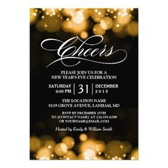 gold bokeh sparkles cheers new years eve party invitation