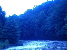 Twilight in beautiful, wild Cherry River in Richwood, WV   Fave place to be.